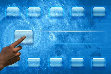 Hand pushing a button on a touch screen interface Stock Photo - 12698496