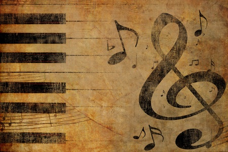 classical music: Muziek neemt nota van oude grunge oude vintage achtergrond Stockfoto