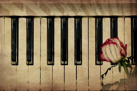 Abstract grunge rose and piano, vintage music background Stock Photo - 12698559