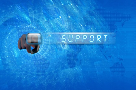 Hand pushing a support button on a touch screen interface Stock Photo - 12698566