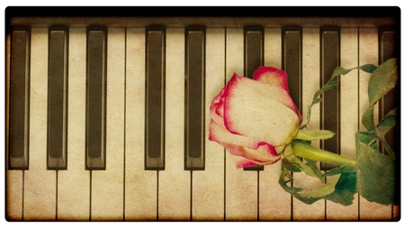 Abstract grunge rose and piano, vintage music background photo