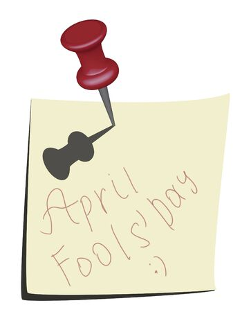 Illustration of note paper and pin. April fools day calendar icon. illustration