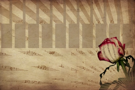 sepia toned: Abstract music notes and rose vintage background