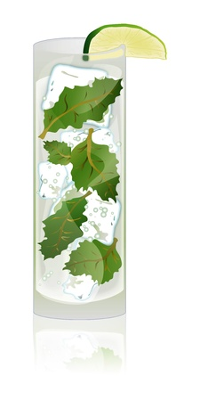 Illustration of a delicious Mojito cocktail with fresh lime and mint. Stock Vector - 12898557