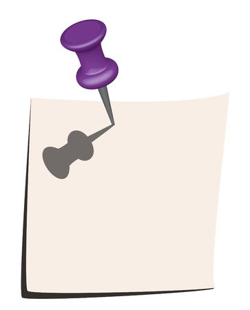 Illustration of note paper and purple pin Stock Vector - 12898555