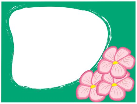 Abstract illustration of pink flowers on green. Vector