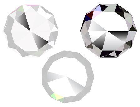 Illustration of three diamonds, jewel stone icon Vector