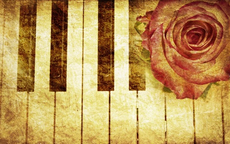 musical instrument parts: Abstract grunge rose and piano, vintage music background