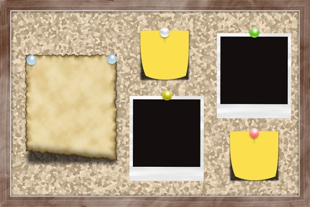 Cork notice board with pinned items. Perfect for a backgound. Stock Photo - 12977215