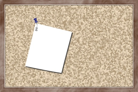 Cork bulletin board with blank paper hanging Stock Photo - 13165699