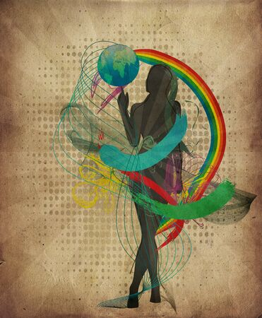 world peace: Abstract illustration with Girl with globe in grunge style Stock Photo