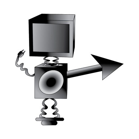 Illutration of robot TV isolated on white Stock Vector - 13238867