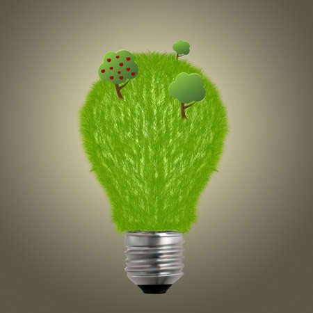 Light bulb made of green grass and trees, ecological concepts Stock Photo - 13305659
