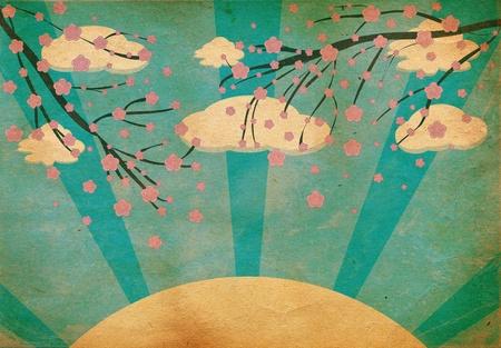 cerezos en flor: Ilustración de un fondo grunge cerezos en flor abstracta