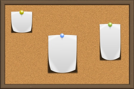 Cork board with blank note papers Stock Photo - 13340826