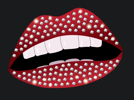 Illustraton of beautiful female red lips with diamonds Vector