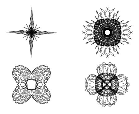 Set of spirograph elements for design on a white background Vector