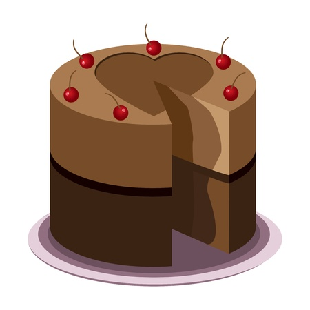 Tasty chocolate cake with cherries on top on a plate Illustration