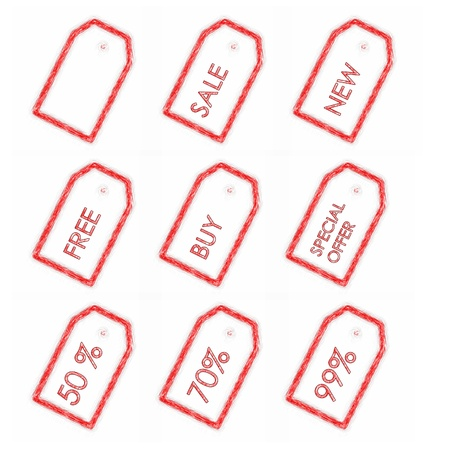 Illustration of discount red tags on white background illustration