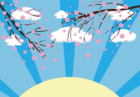 Illustration of a Cherry blossom in spring time Vector