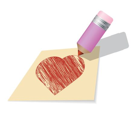 Yellow Sticky Note, pencil drawing a heart. Stock Vector - 13500009