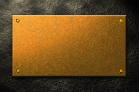 Golden metal plate background texture photo