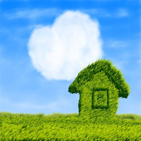 Grass house on a grass field and heart shaped cloud  Stock Photo - 13726419
