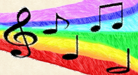 Illustration of music notes on a rainbow, hand drawn background illustration