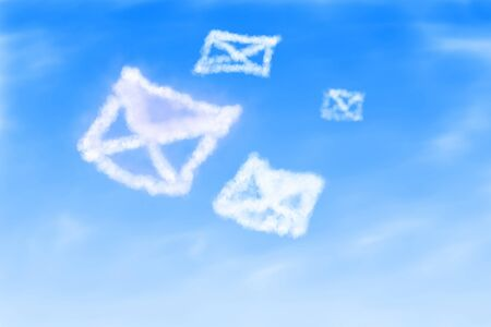 Illustration of mails from clouds background illustration