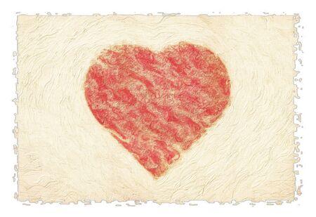 Hand drawn heart grungy paper valentine photo