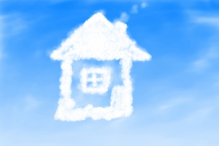 Illustration of small house from clouds background illustration