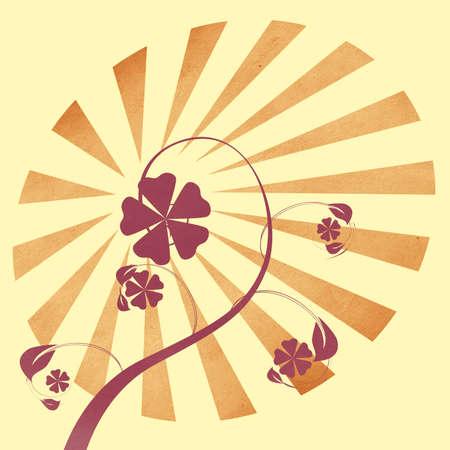 Illustration of flower paper cut, grunge background illustration