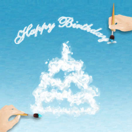 sweetmeats: Illustration of two hands drawing happy birthday card. Stock Photo