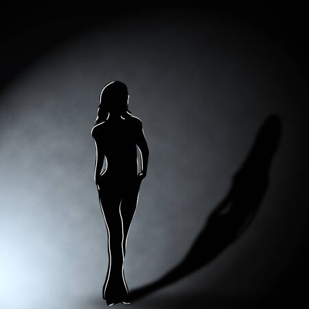 Illustration of girl silhouette in the dark room. illustration