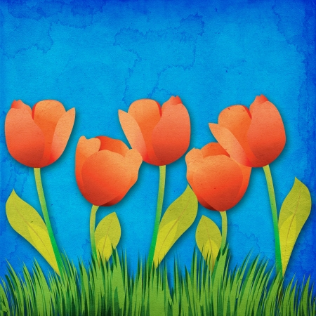 Grunge paper background with tulips flowers. photo