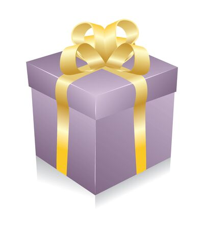 One violet gift box with gold ribbon and bow isolated. Vector