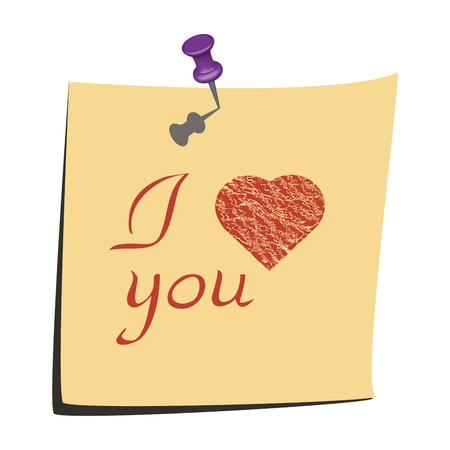 Illustration of love you paper note with heart Stock Vector - 14197109