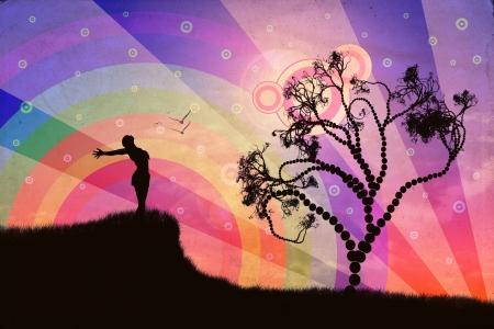 mind body soul: Silhouette di una donna di relax su un bel tramonto di una giornata estiva.