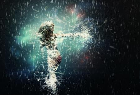 donna che balla: Illustrazione di ballo 3d ragazza spruzzi sotto la pioggia