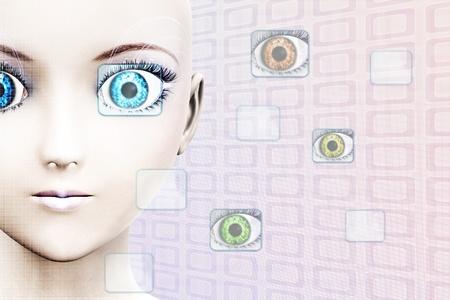 Illustration of high-tech face technology background  illustration
