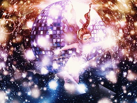 Abstract party poster with disco ball and fairy Stock Photo - 14487326