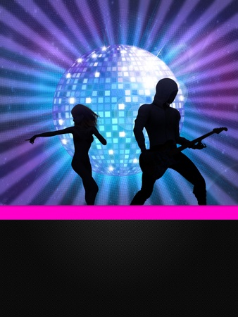 Illustration of party banner with disco ball and dancing 3d people  Stock Illustration - 14566931