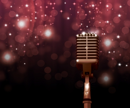 Audio microphone against the colorful curtains background  Stock Photo