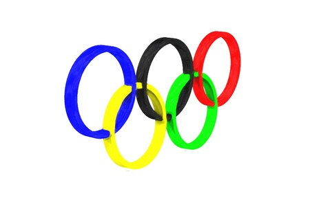 the olympic rings: Hand drawn image of Olympic rings on white