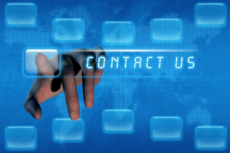 Hand pushing contact us button on a touch screen interface Stock Photo - 14680954