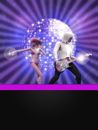 Illustration of party banner with disco ball and dancing 3d people  illustration