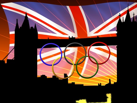 Abstract illustrazione del Tower Bridge con anelli Olimpic