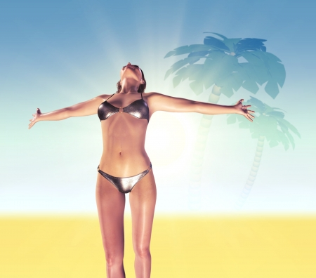 A young woman with arms stretched out to the sky Stock Photo - 14680964