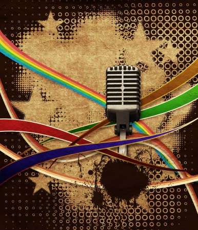 Illustration of retro grunge background with microphone and ribbons  Stock Illustration - 14680962
