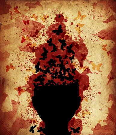 Abstract illustration of human head with butterflies on grunge background  Stock Photo